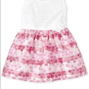Toddler Girls Lace Floral Knit To Woven Dress